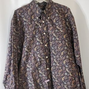 Alan Flusser Black Purple Paisley Button Up Shirt